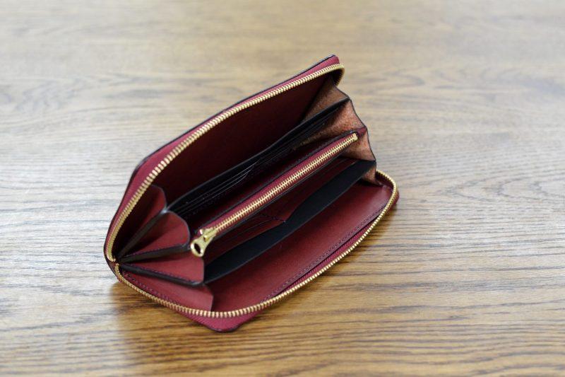 ワインレッド ファスナー財布