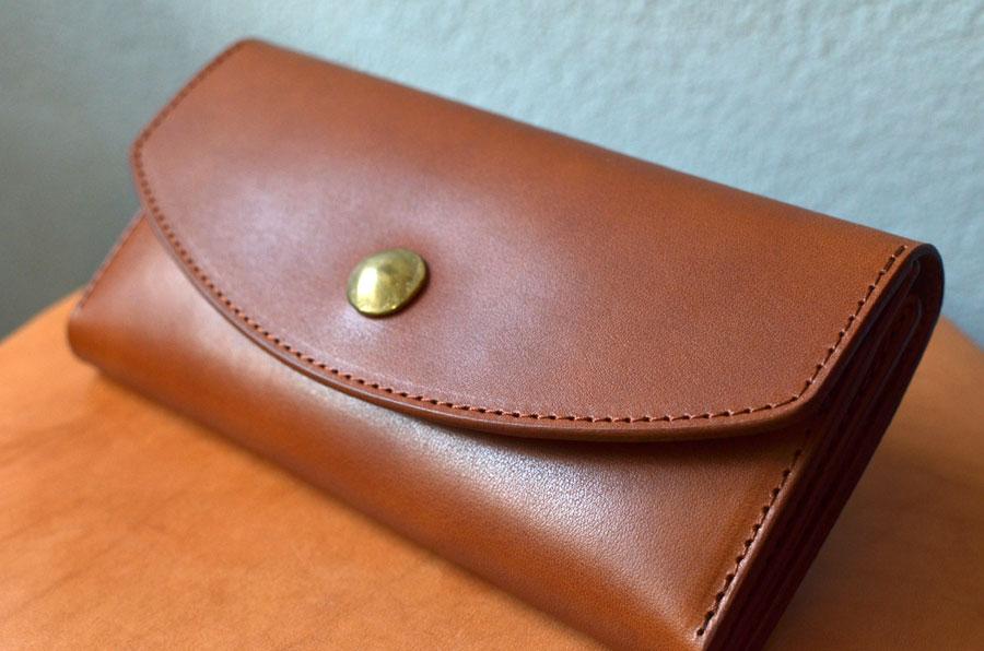 セミオーダーメイド財布 真鍮コンチョ付き長財布 オーダーメイド財布
