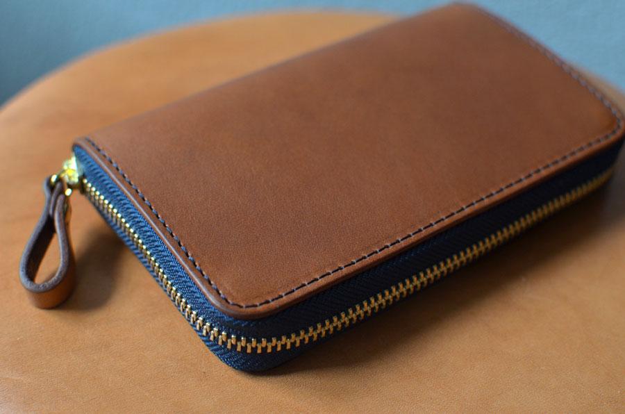 革 ブラウン ファスナーミドル財布