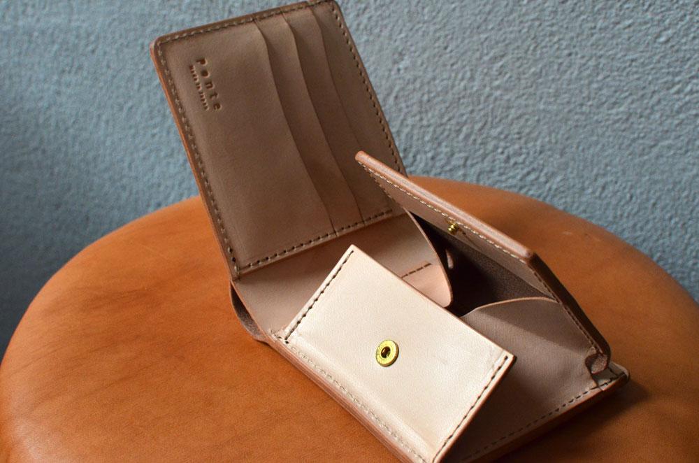 二つ折りBOX財布 ヌメ革