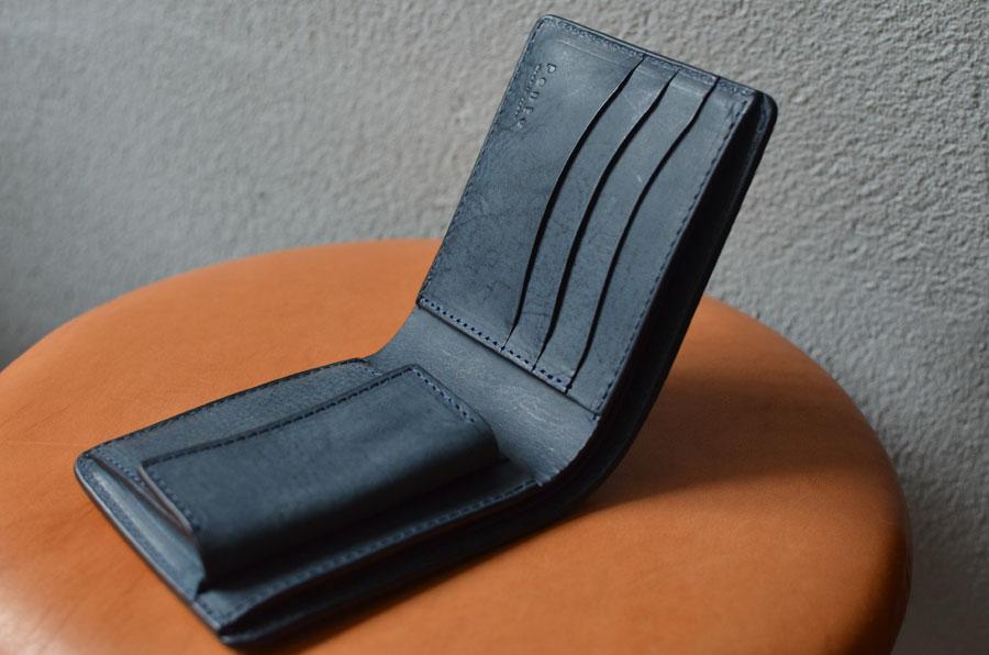 二つ折り財布 ネイビー セミオーダーメイド