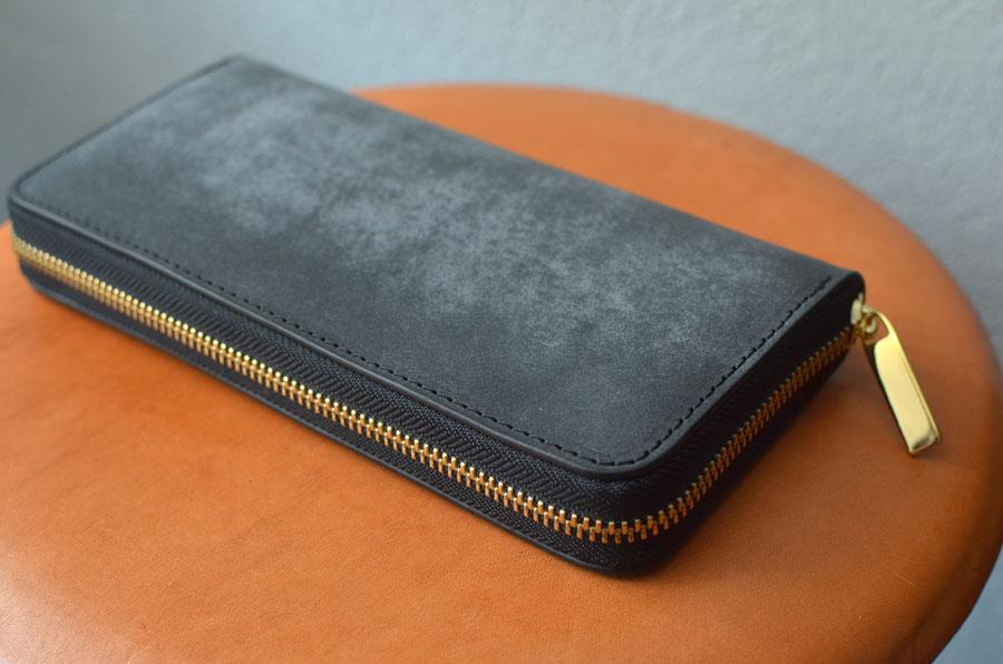 ブルームレザー黒 ラウンドファスナー財布