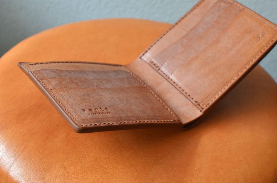 フルオーダーメイド 二つ折り財布 ブルームレザーブラウン