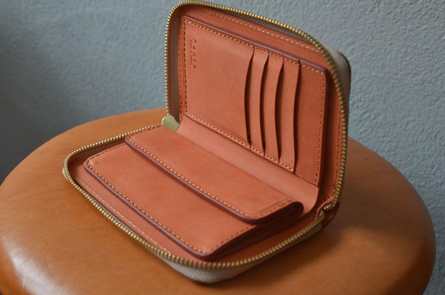 ブルームレザーオレンジ ファスナーミドル財布