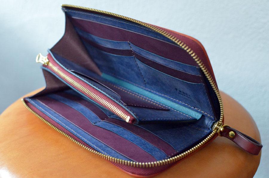 ブルームレザーパープル ブルー L字ファスナー長財布