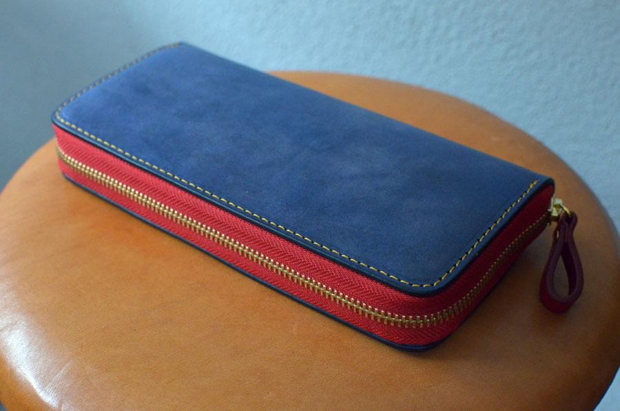 ラウンドファスナー財布 ブルー