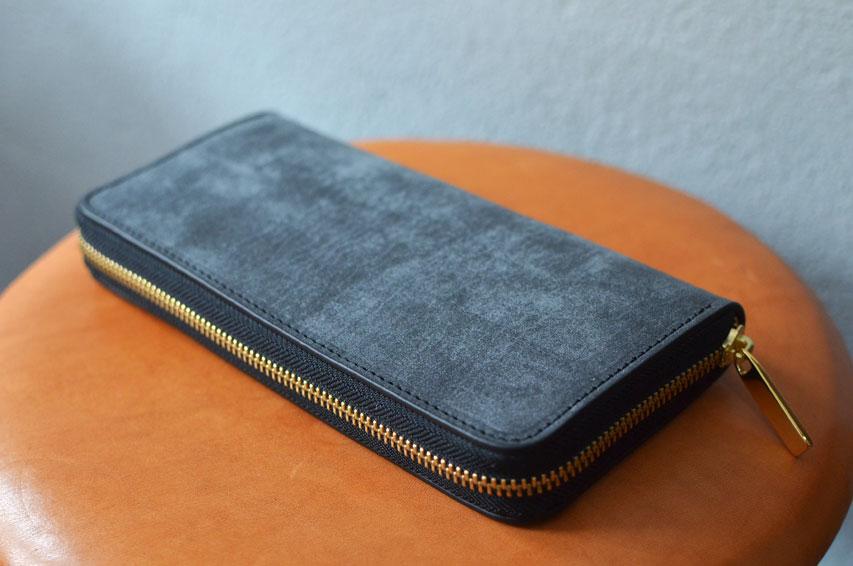 ブルームレザー 黒 こげ茶 ラウンドファスナー財布