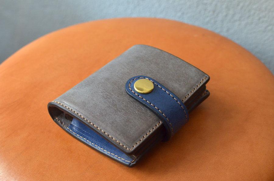 ミニ財布 グレー ブルー