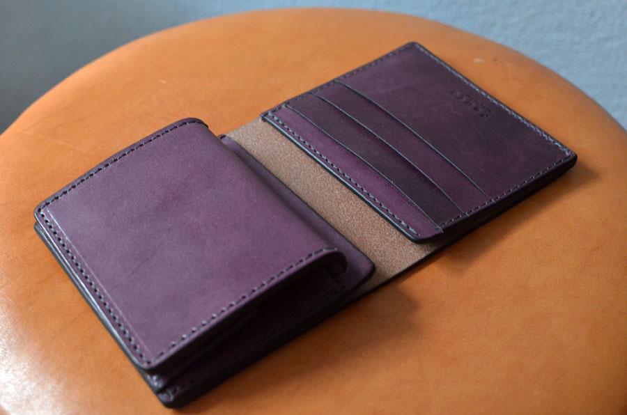 ブルームレザーパープル ミニ財布